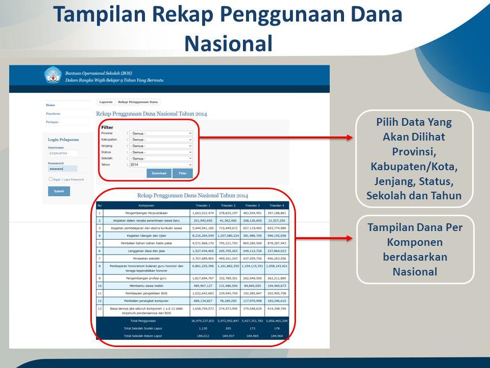 Tampilan Rekap Penggunaan Dana Nasional