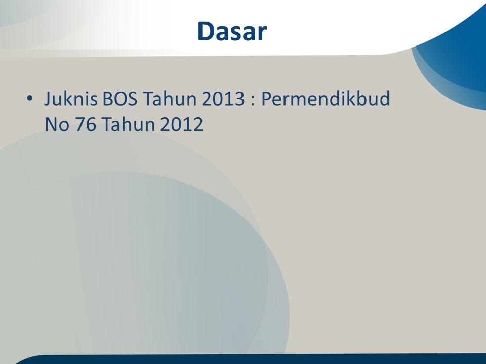 Dasar Juknis BOS Tahun 2013 : Permendikbud No 76 Tahun 2012