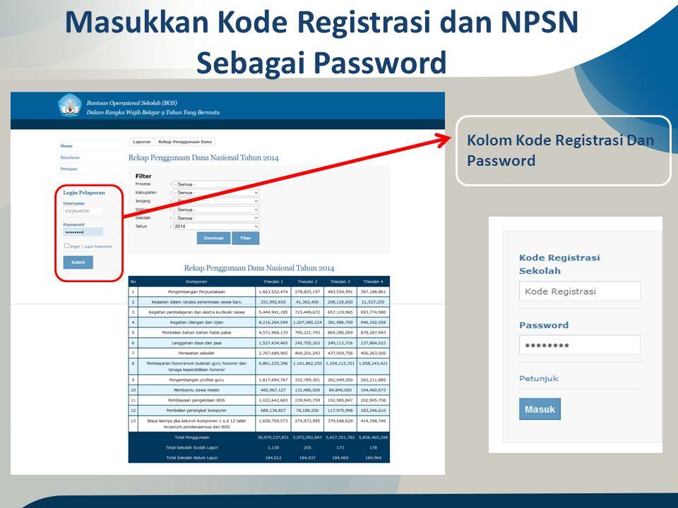 Masukkan Kode Registrasi dan NPSN Sebagai Password