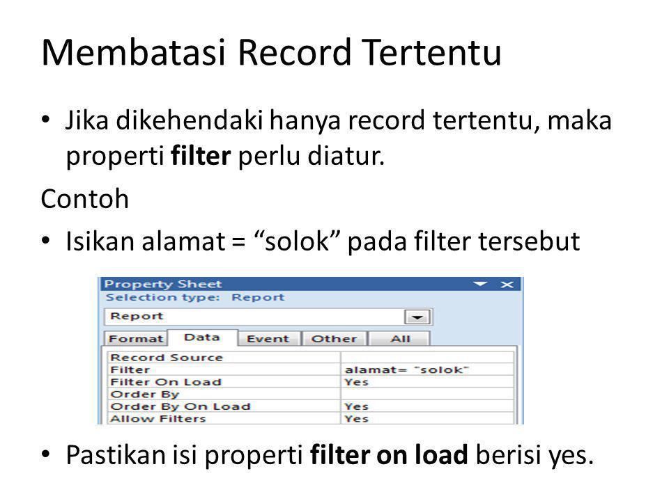 Membatasi Record Tertentu