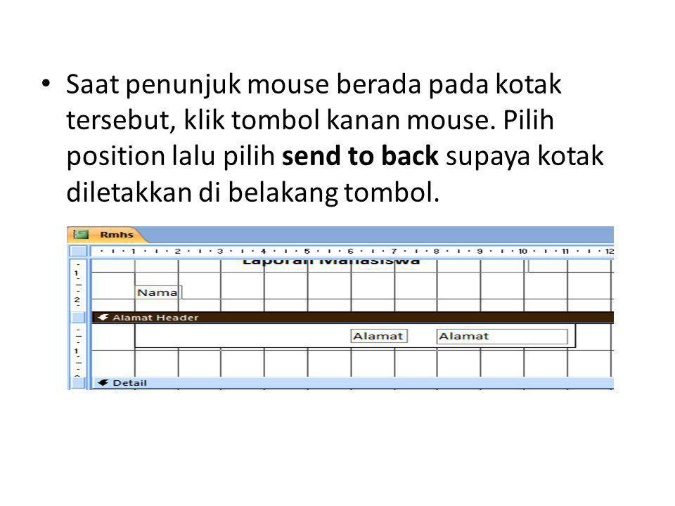 Saat penunjuk mouse berada pada kotak tersebut, klik tombol kanan mouse.