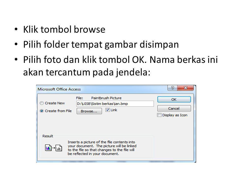 Klik tombol browse Pilih folder tempat gambar disimpan.