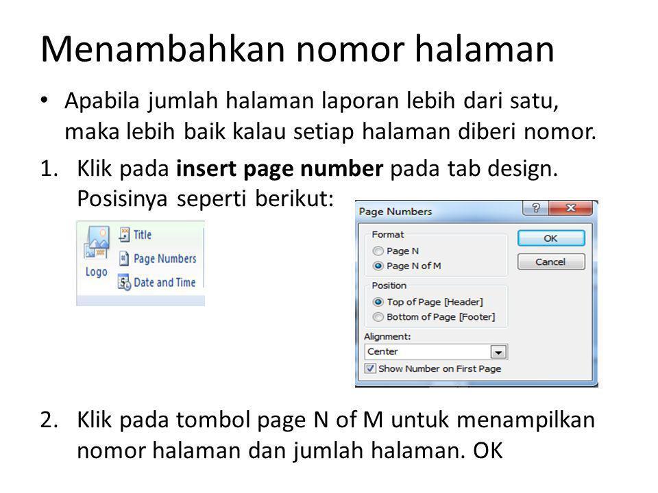 Menambahkan nomor halaman