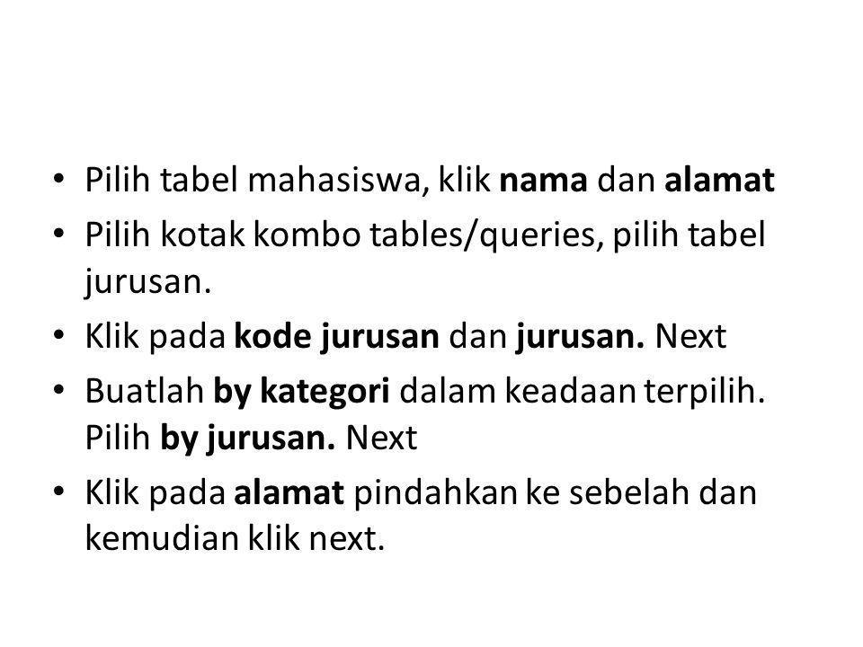 Pilih tabel mahasiswa, klik nama dan alamat