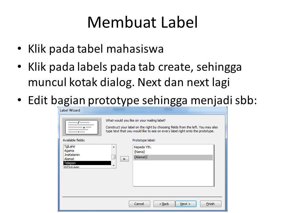 Membuat Label Klik pada tabel mahasiswa