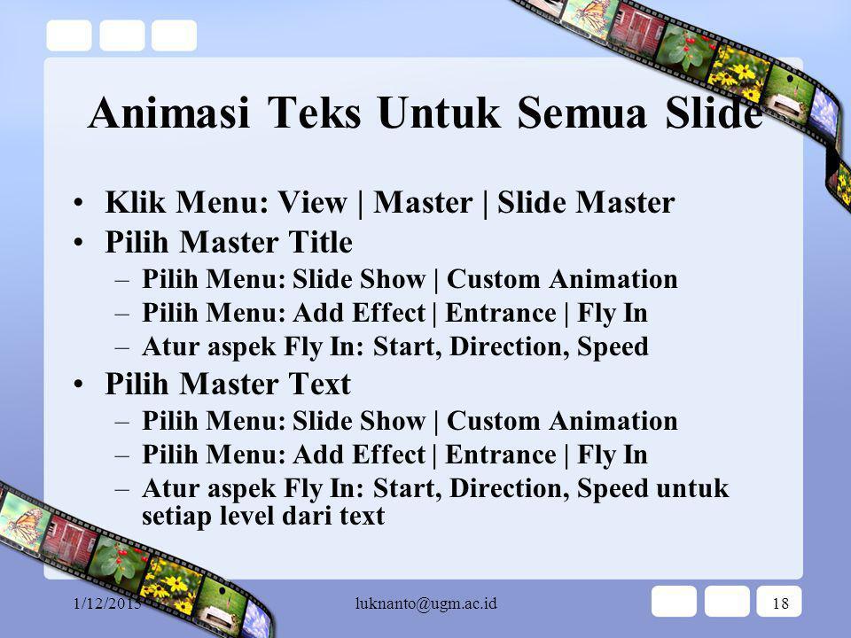 Animasi Teks Untuk Semua Slide