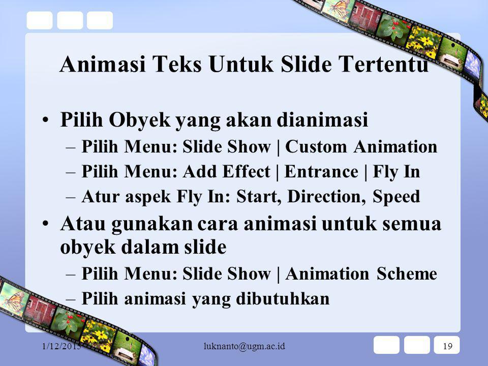 Animasi Teks Untuk Slide Tertentu