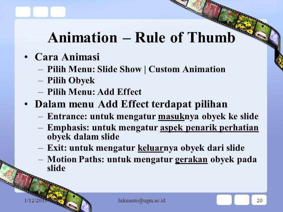 Animation – Rule of Thumb