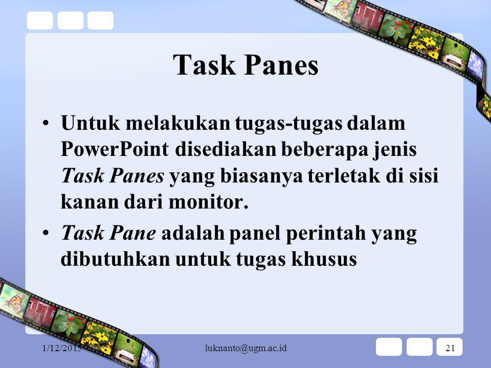Task Panes Untuk melakukan tugas-tugas dalam PowerPoint disediakan beberapa jenis Task Panes yang biasanya terletak di sisi kanan dari monitor.