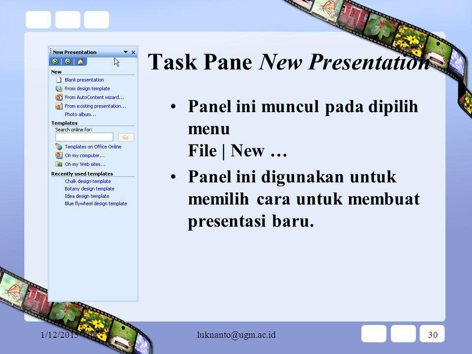 Task Pane New Presentation