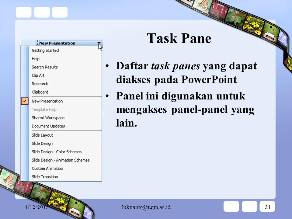 Task Pane Daftar task panes yang dapat diakses pada PowerPoint