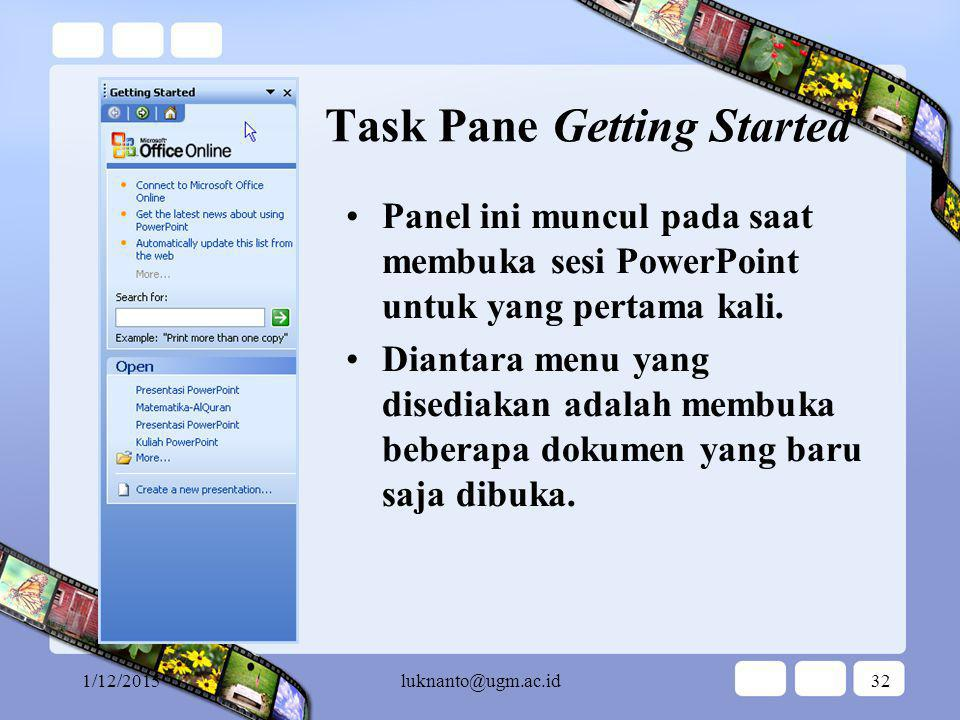 Task Pane Getting Started