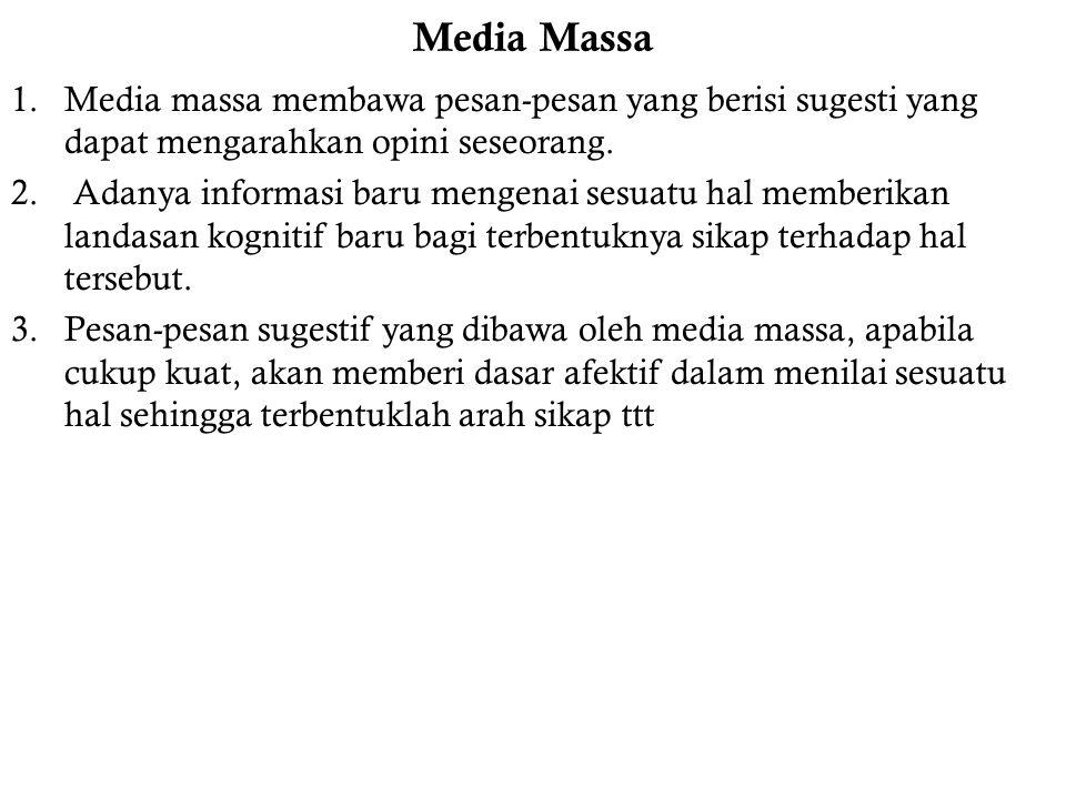 Media Massa Media massa membawa pesan-pesan yang berisi sugesti yang dapat mengarahkan opini seseorang.