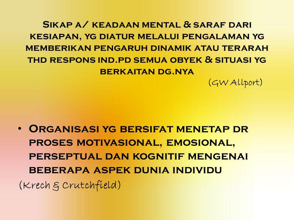 Sikap a/ keadaan mental & saraf dari kesiapan, yg diatur melalui pengalaman yg memberikan pengaruh dinamik atau terarah thd respons ind.pd semua obyek & situasi yg berkaitan dg.nya (GW Allport)