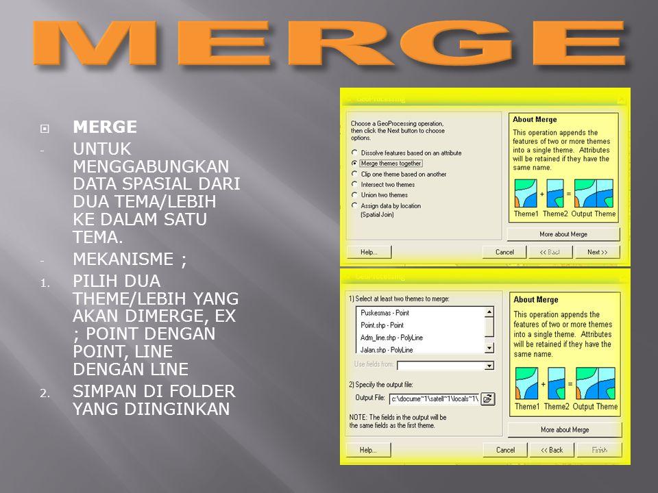 MERGE MERGE. UNTUK MENGGABUNGKAN DATA SPASIAL DARI DUA TEMA/LEBIH KE DALAM SATU TEMA. MEKANISME ;