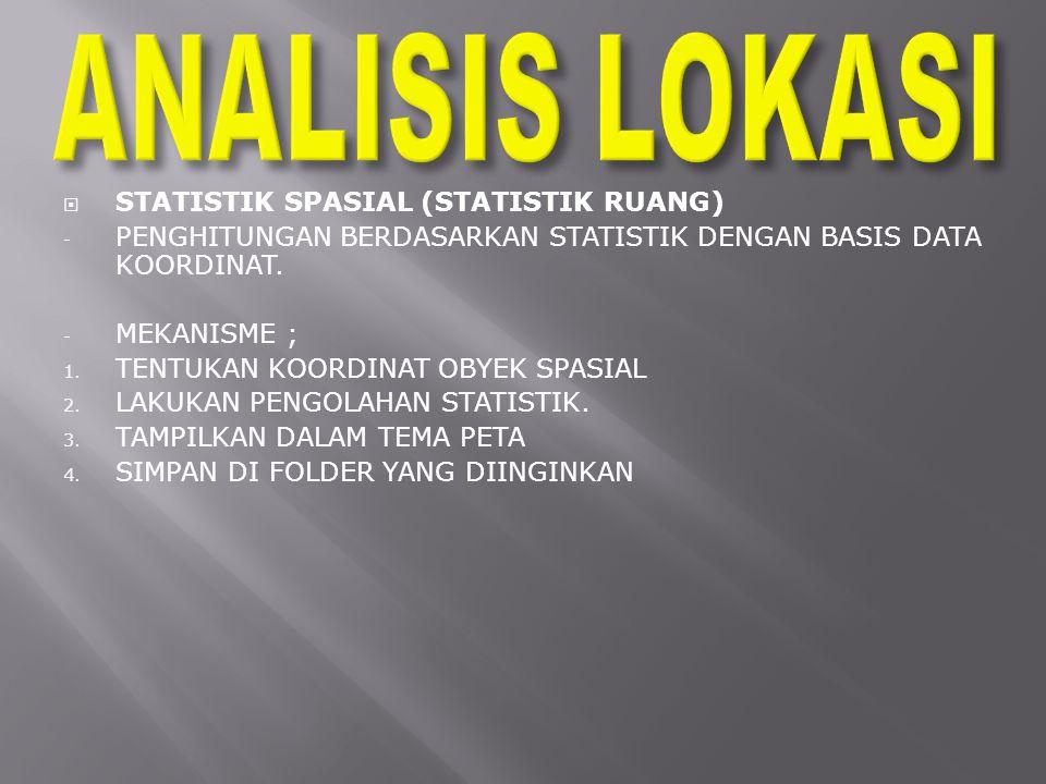ANALISIS LOKASI STATISTIK SPASIAL (STATISTIK RUANG)