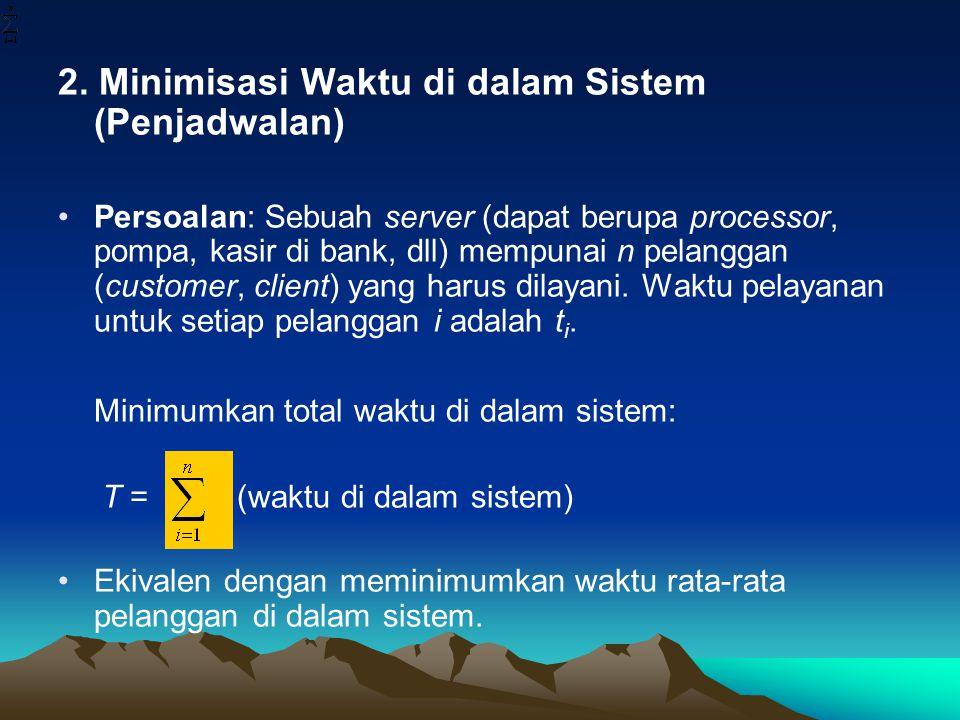 2. Minimisasi Waktu di dalam Sistem (Penjadwalan)