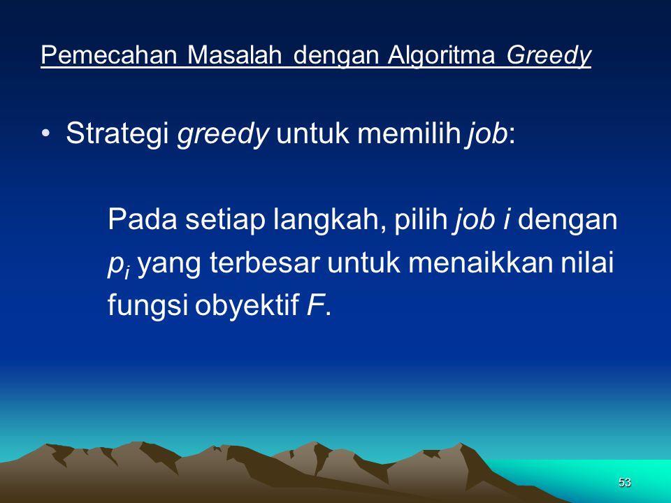 Strategi greedy untuk memilih job: