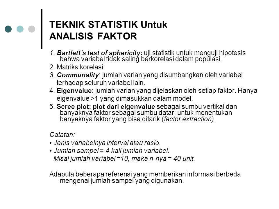 TEKNIK STATISTIK Untuk ANALISIS FAKTOR