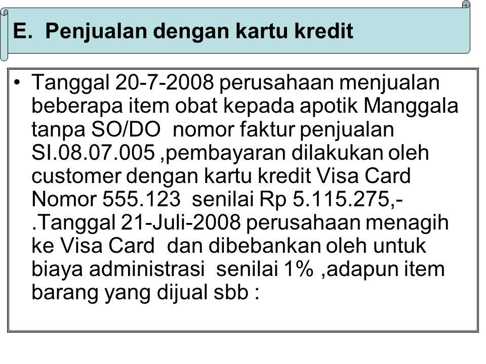 E. Penjualan dengan kartu kredit