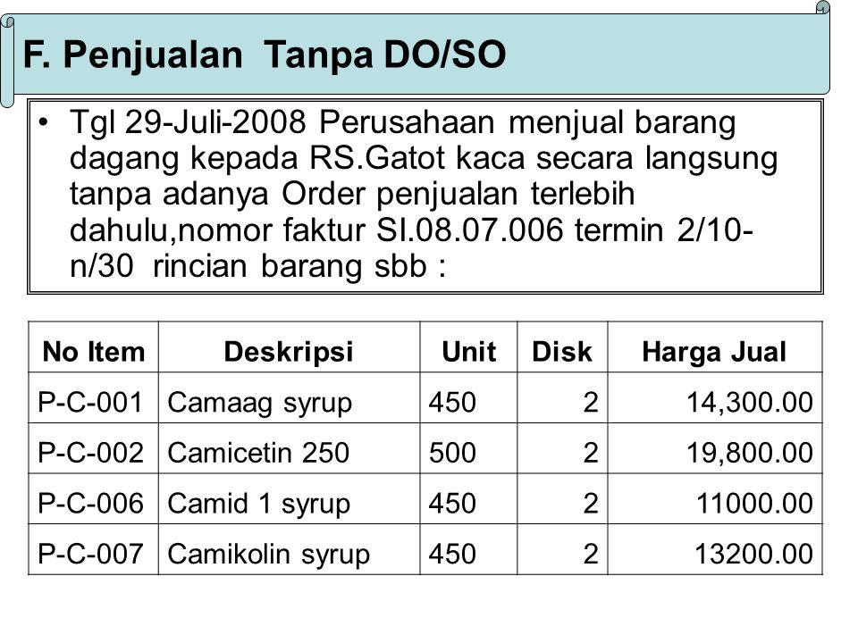 F. Penjualan Tanpa DO/SO