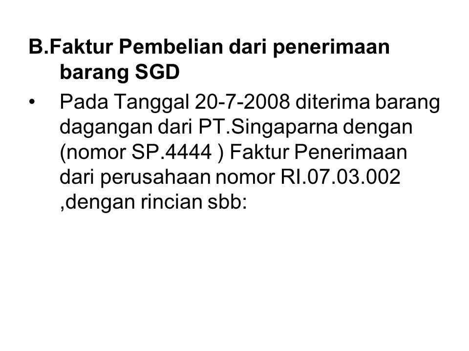 B.Faktur Pembelian dari penerimaan barang SGD
