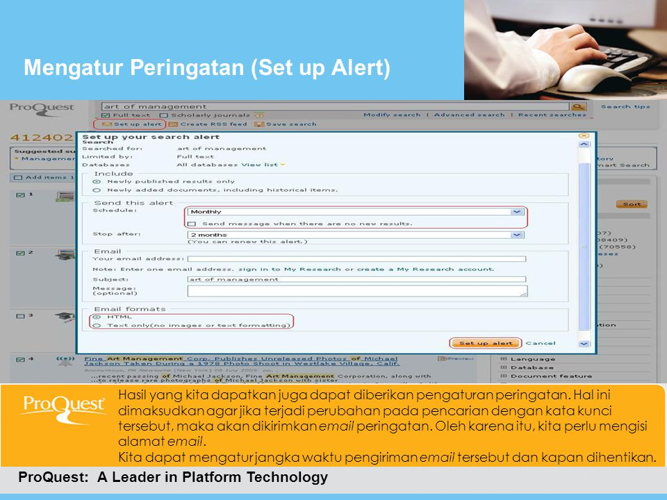 Mengatur Peringatan (Set up Alert)