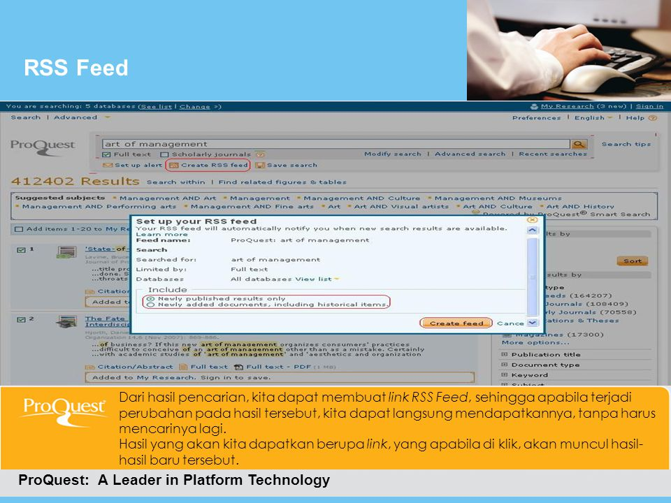 RSS Feed ProQuest: A Leader in Platform Technology