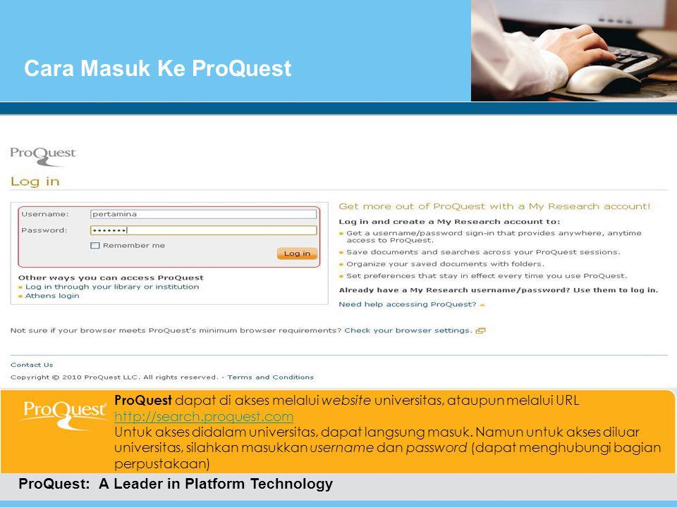 Cara Masuk Ke ProQuest Cara Masuk Ke ProQuest