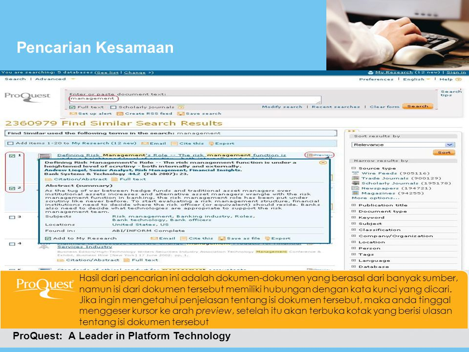 Pencarian Kesamaan ProQuest: A Leader in Platform Technology