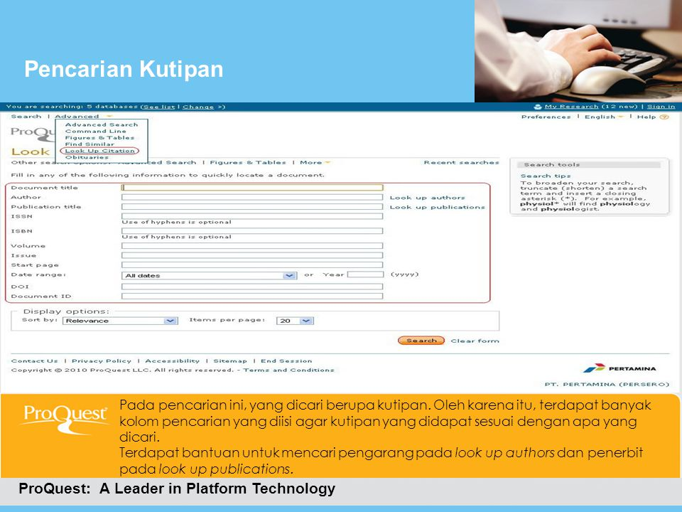 Pencarian Kutipan ProQuest: A Leader in Platform Technology