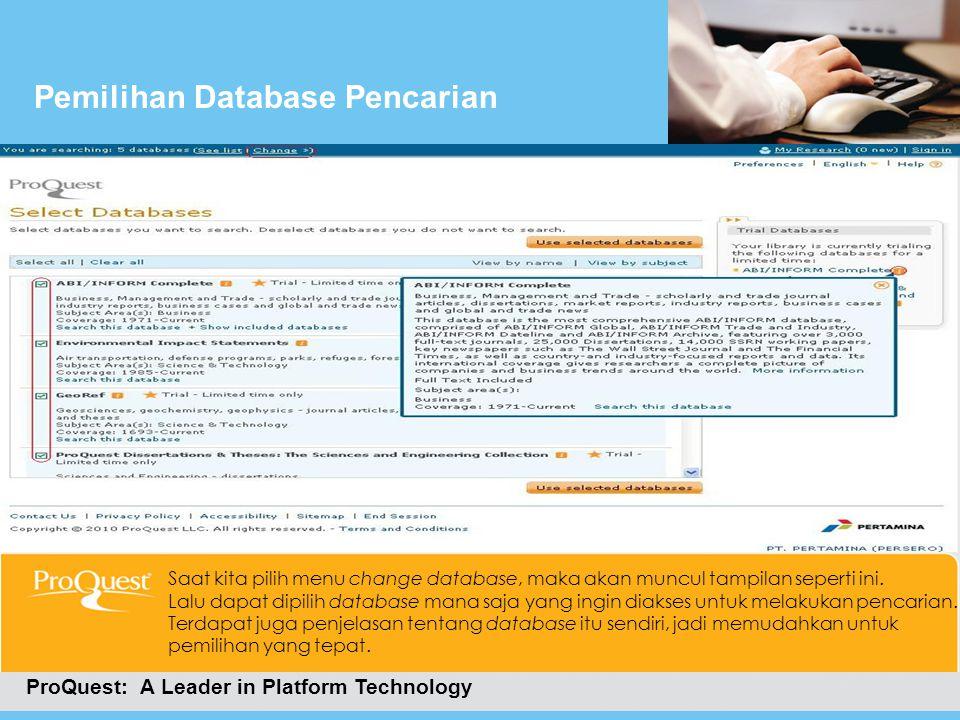 Pemilihan Database Pencarian