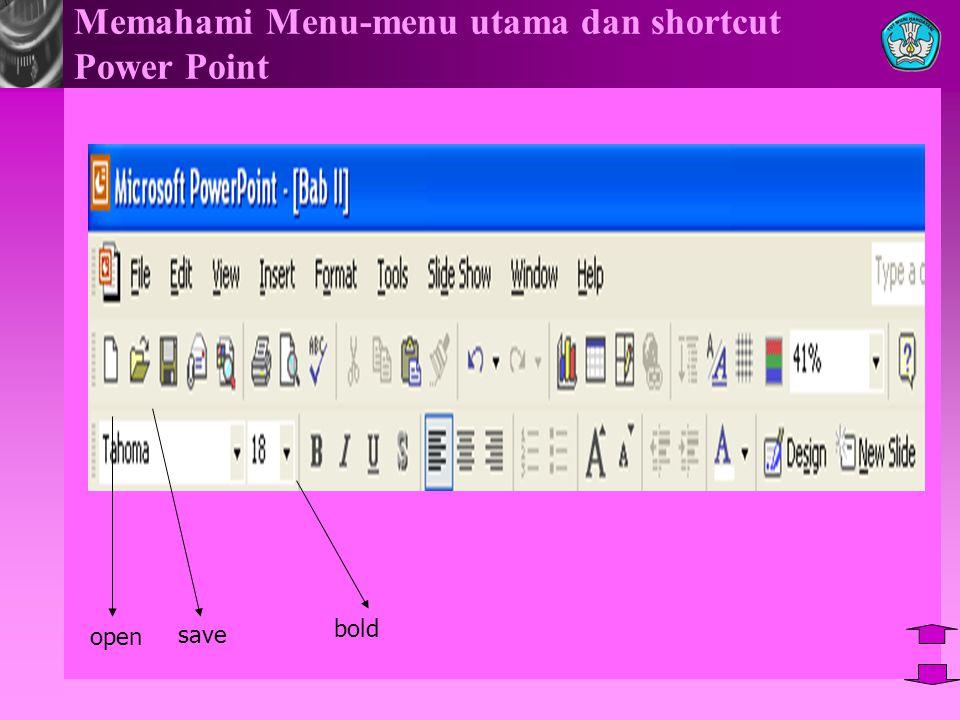 Memahami Menu-menu utama dan shortcut Power Point