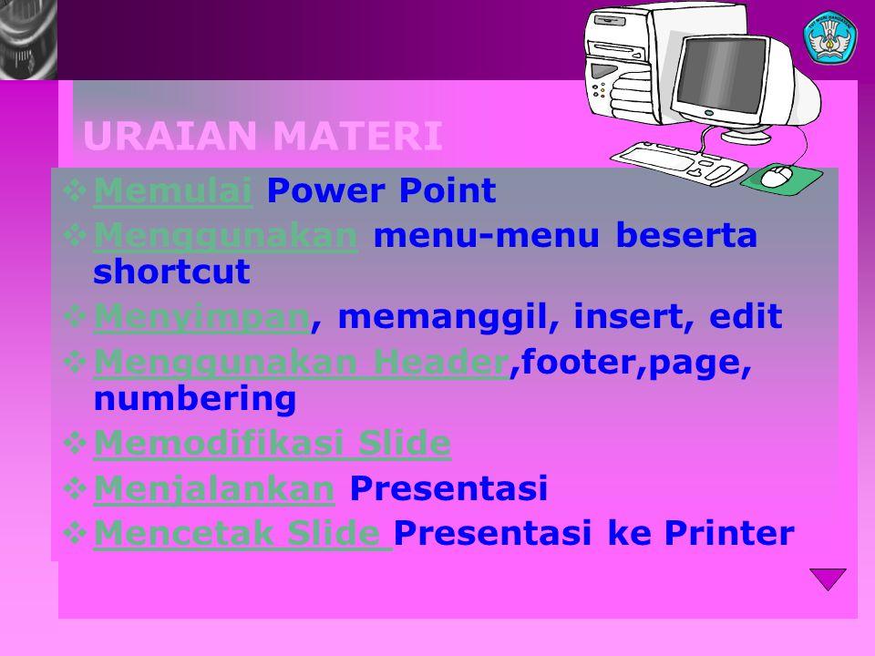 URAIAN MATERI Memulai Power Point