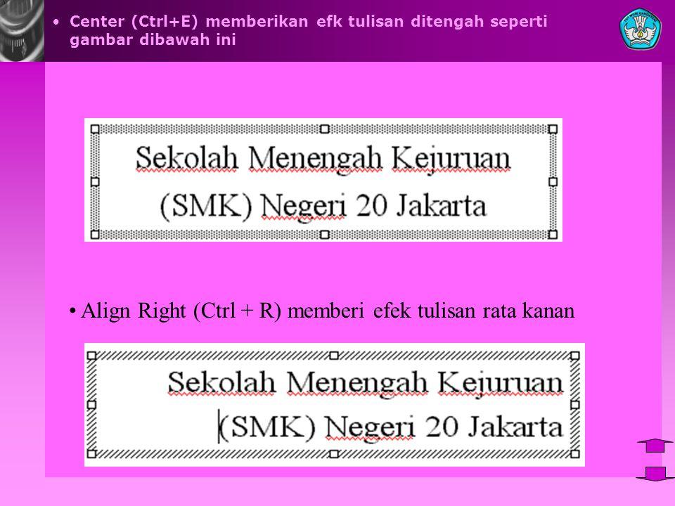 Align Right (Ctrl + R) memberi efek tulisan rata kanan