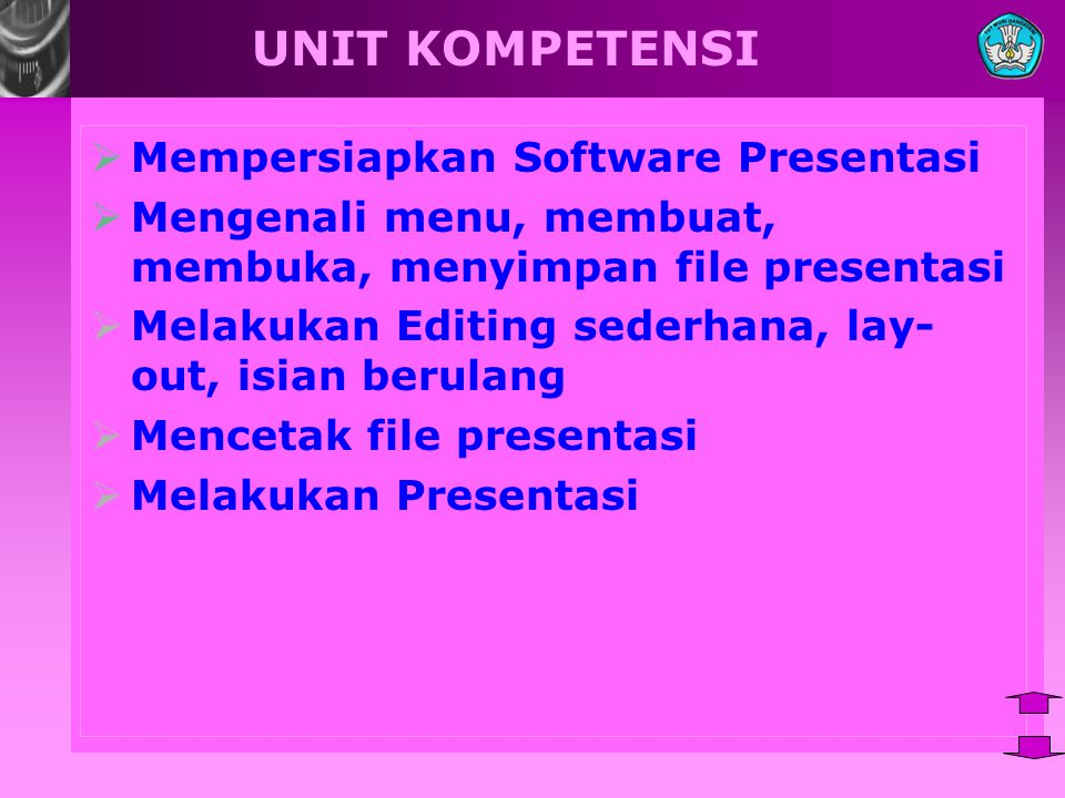 UNIT KOMPETENSI Mempersiapkan Software Presentasi