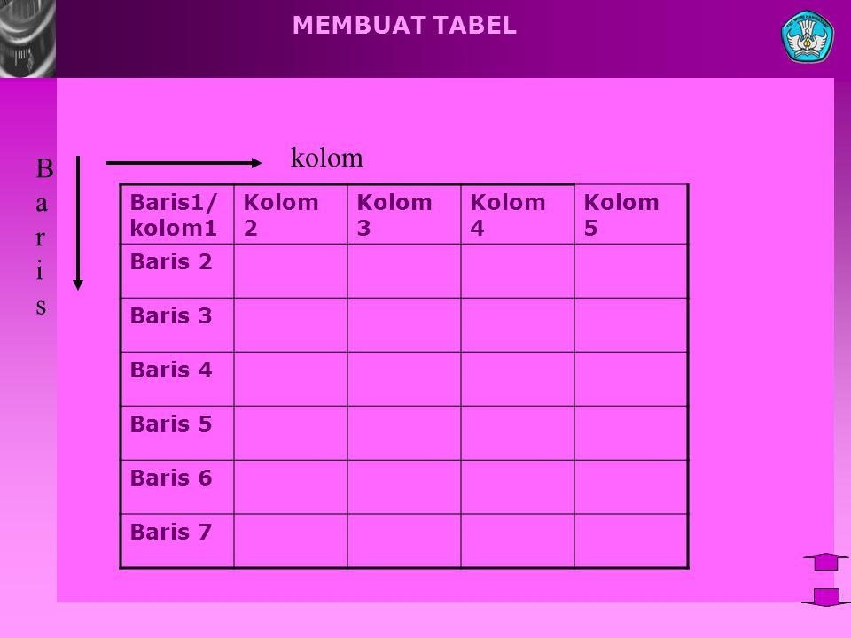 kolom B a r i s MEMBUAT TABEL Baris1/ kolom1 Kolom 2 Kolom 3 Kolom 4