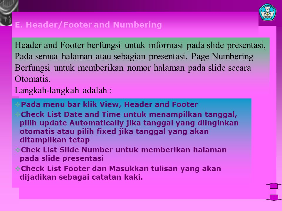 E. Header/Footer and Numbering