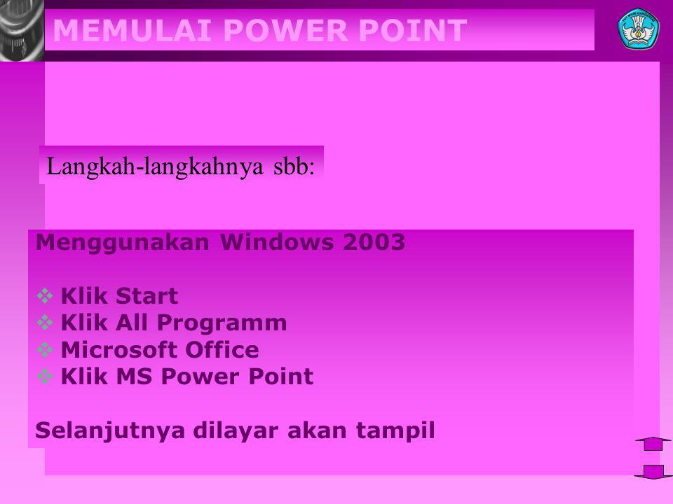 MEMULAI POWER POINT Langkah-langkahnya sbb: Menggunakan Windows 2003