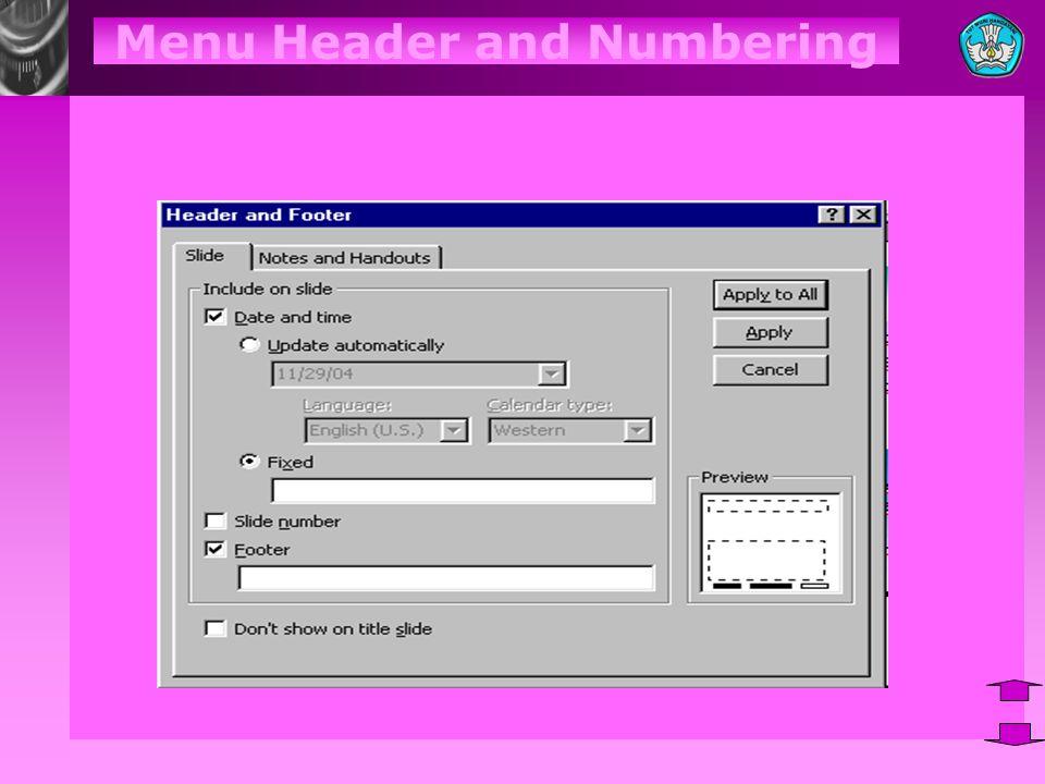 Menu Header and Numbering