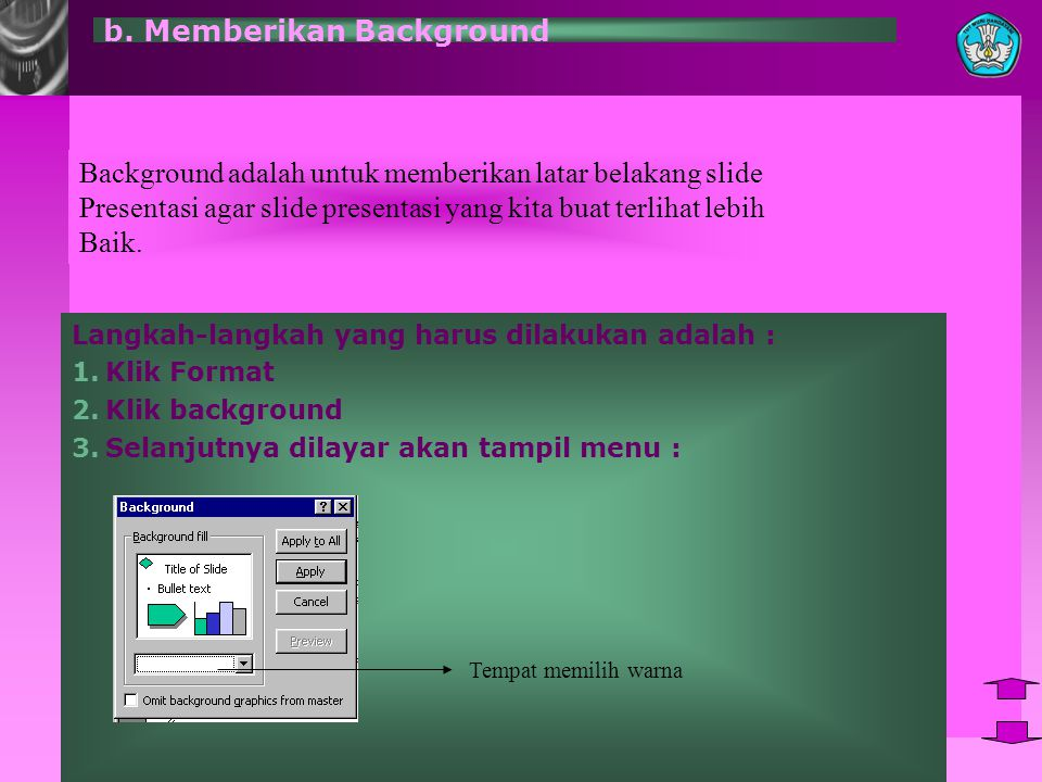 b. Memberikan Background