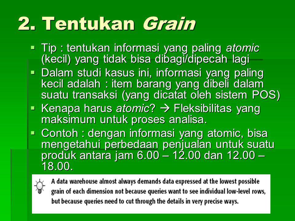 2. Tentukan Grain Tip : tentukan informasi yang paling atomic (kecil) yang tidak bisa dibagi/dipecah lagi.