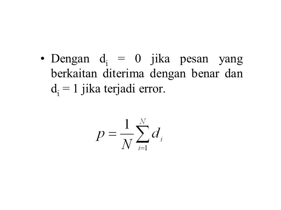 Dengan di = 0 jika pesan yang berkaitan diterima dengan benar dan di = 1 jika terjadi error.