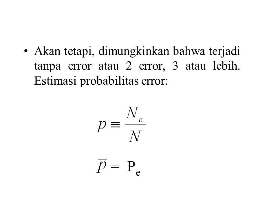 Akan tetapi, dimungkinkan bahwa terjadi tanpa error atau 2 error, 3 atau lebih. Estimasi probabilitas error: