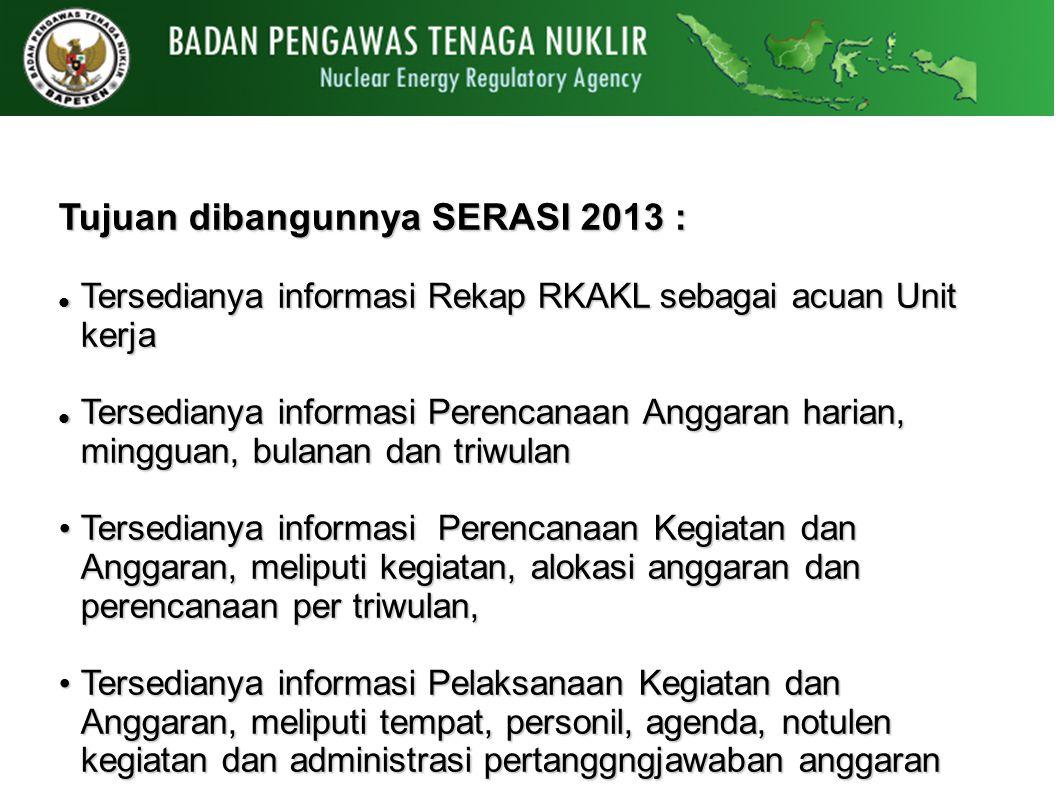 Tujuan dibangunnya SERASI 2013 :