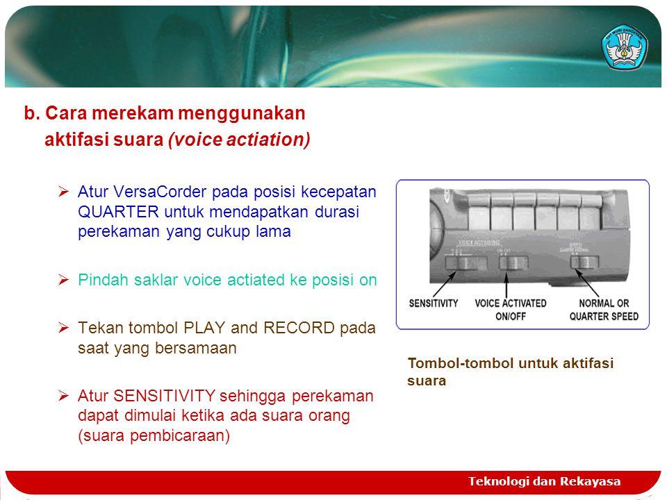 b. Cara merekam menggunakan aktifasi suara (voice actiation)