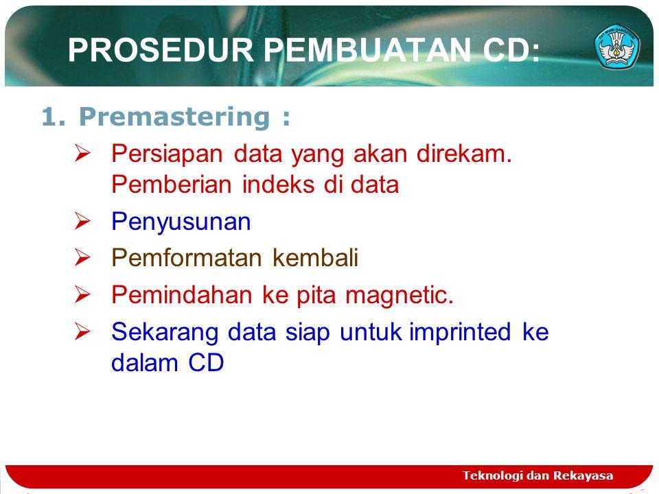 PROSEDUR PEMBUATAN CD:
