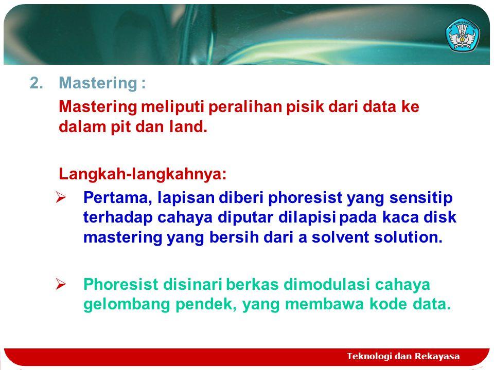 Mastering meliputi peralihan pisik dari data ke dalam pit dan land.