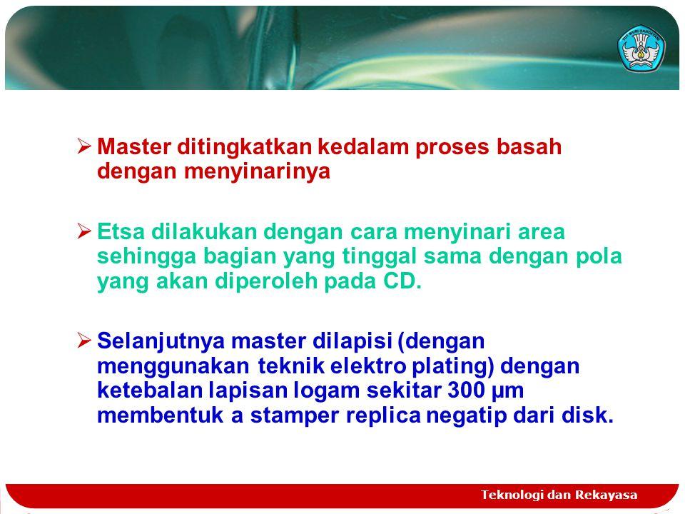 Master ditingkatkan kedalam proses basah dengan menyinarinya