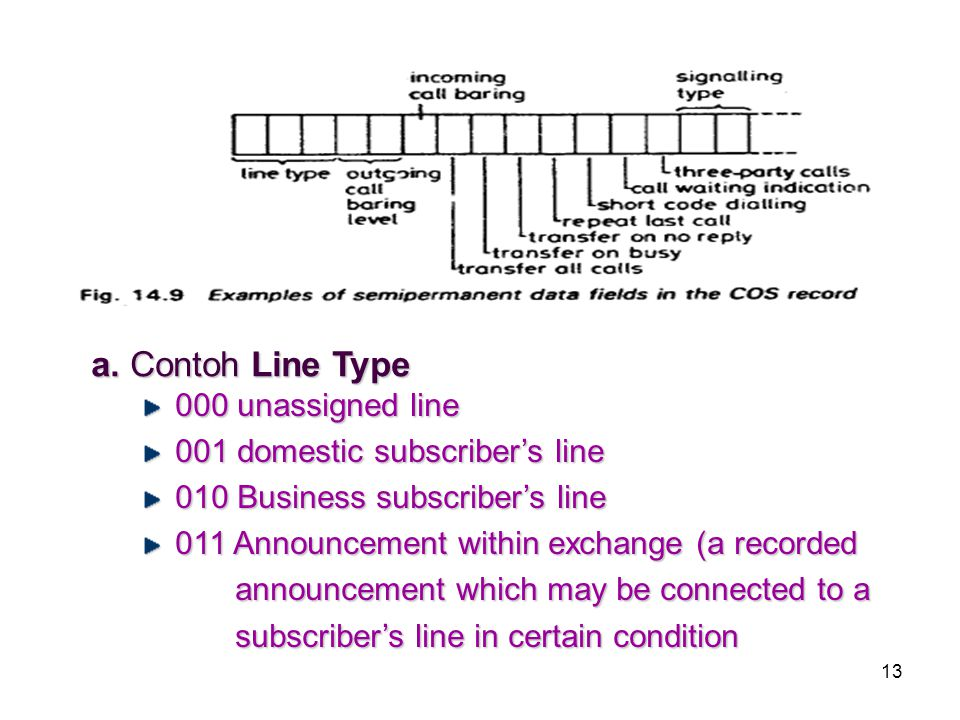 a. Contoh Line Type 000 unassigned line 001 domestic subscriber's line